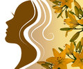Silhouette profile of a beautiful woman with a lily Royalty Free Stock Photo