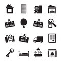 Silhouette real estate icons vector icon set Stock Photo