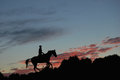 Silhouette of a rider on a horse Royalty Free Stock Photo