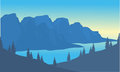 Silhouette of river and mountain background Royalty Free Stock Photo