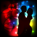 Silhouette of romantic couple on abstract light ba vector background Royalty Free Stock Photo