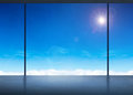 Silhouette of Room in office building see through to window at b Royalty Free Stock Photo