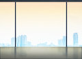 Silhouette of Room in office building see through to window at c Royalty Free Stock Photo