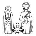 Silhouette sacred family with baby jesus kneel Royalty Free Stock Photo