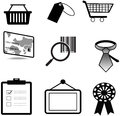 Silhouette sales and commerce material icon collec collection set create by vector Stock Photos