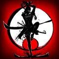 Silhouette of a samurai girl who attacks in a jump with a katana in her hands