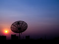 Silhouette satellite dish send receive data wave social network Stock Photos