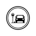 Silhouette seal parking area for vehicles with parking meter Royalty Free Stock Photo