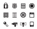 Silhouette Security and Business icons Royalty Free Stock Photo