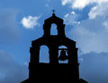 Silhouette of serbian orthodox church with bell in petrovac montenegro Royalty Free Stock Image