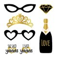 Silhouette set of party photobooth props vector elements. Champagne, crown, glasses, diamond and signs She said Yes - in american