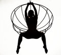 Silhouette of a sexy woman on a metal swing, black and white