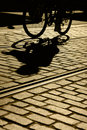 Silhouette and Shadow of Bicyle Royalty Free Stock Photo