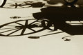 Silhouette shadow of vintage carriage Stock Photo