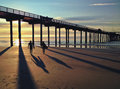Silhouette and shadows of surfers along the pacific ocean usa scripps pier in la jolla beach san diego california Stock Photo