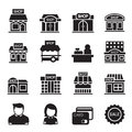 Silhouette Shop building icon set Royalty Free Stock Photo