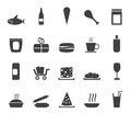 Silhouette Shop and Foods Icons Royalty Free Stock Photo