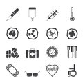 Silhouette Simple  medical themed icons and warning-signs Royalty Free Stock Photo