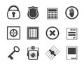 Silhouette Simple Security and Business icons Royalty Free Stock Photo