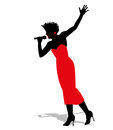 Silhouette of a singer Royalty Free Stock Photo