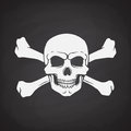 Silhouette of skull Jolly Roger with crossbones behind
