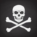 Silhouette of skull Jolly Roger with crossbones at the bottom