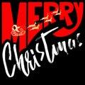 Silhouette Sleigh of Santa Claus and Reindeers. Merry Christmas handwritten modern dry brush lettering. Vector