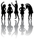 Silhouette of small girls Stock Image