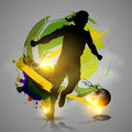 Silhouette soccer player ink splatters with colorful background Royalty Free Stock Photos