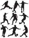 Silhouette soccer players Royalty Free Stock Photo