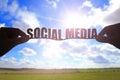 Silhouette social media word Royalty Free Stock Photo