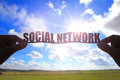 Silhouette social network word Royalty Free Stock Photo