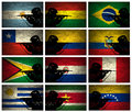 Silhouette soldier grunge south america countries flags Stock Photography