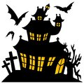 Silhouette spooky house vector illustration Stock Image