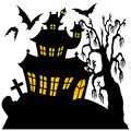 Silhouette spooky house vector illustration Royalty Free Stock Images