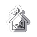 silhouette sticker eco houese with leaves icon Royalty Free Stock Photo