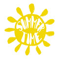Silhouette of the sun with lettering text Summer Time. Vector sticker