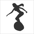Silhouette of surfer woman