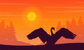 Silhouette of swan on orange background landscape