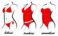 Silhouette swimwear three types of swimsuits bikini tankini monokini Stock Image