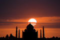 Silhouette of taj mahal a the india during a deep orange sunset Royalty Free Stock Photography