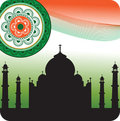 Silhouette of Taj Mahal on Indian flag background Royalty Free Stock Images