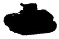 Silhouette of tank french renault ft side view Stock Image