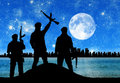 Silhouette of terrorists concept across from the city at night and the moon Royalty Free Stock Images