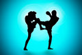 Silhouette thai s boxing useful background Royalty Free Stock Photo