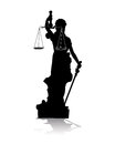 Silhouette themis vector black goddess of justice of the on a white background Royalty Free Stock Photography