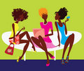 Silhouette of three girls sitting on chair Stock Image