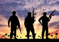 Silhouette of three terrorists concept terrorism with a weapon against a background sunset and palm trees Royalty Free Stock Photography
