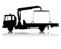 Silhouette of a tow truck Stock Images