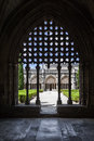 Silhouette of the tracery work on the Royal Cloister of the Batalha Abbey. Royalty Free Stock Photo